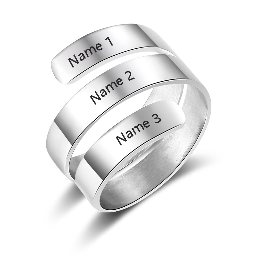 Personalized Spiral Ring For Mom